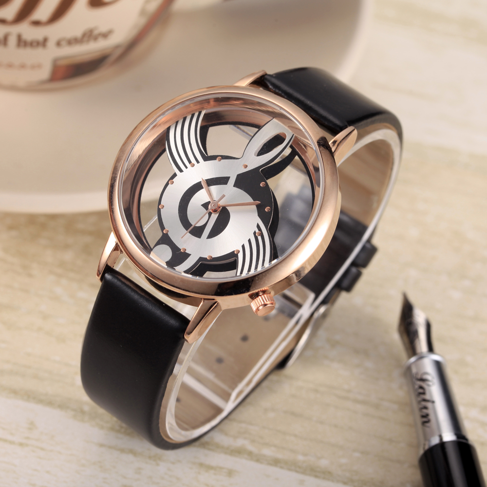 Unik Woman Quartz Analog Hollow Musical Note Style läder WristWatch - Damklockor - Foto 2