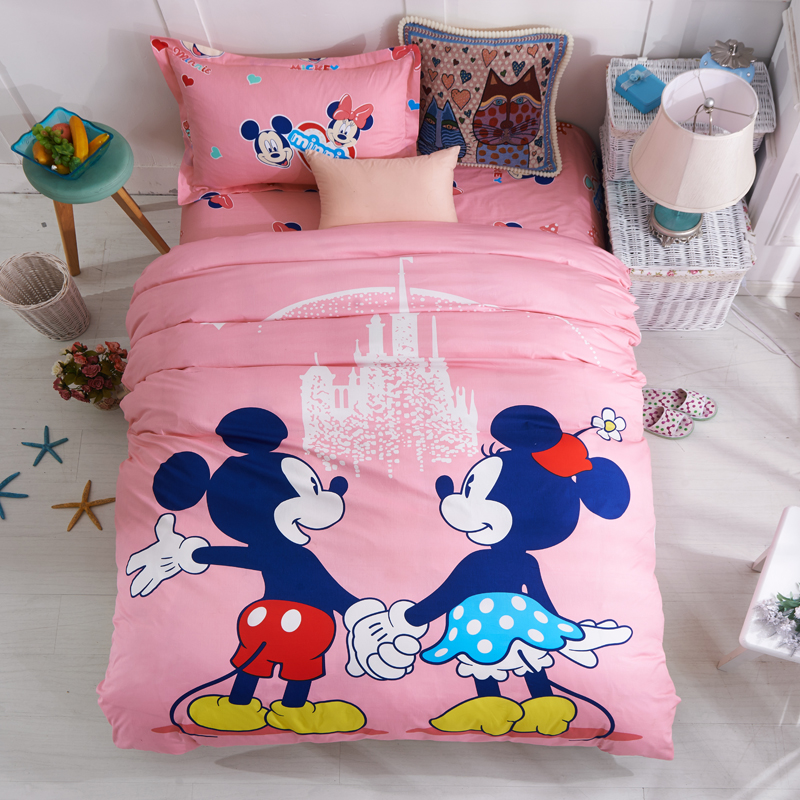 Disney Pink Mickey Minnie Mouse Bedding Sets Girls Bedroom Decor Cotton  Bedsheet Duvet Cover Set for 1.2m 0.9m Bed Twin Single