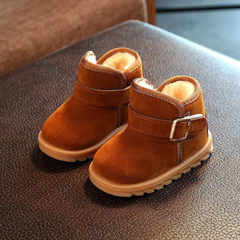 New Boys And Girls Plus Velvet Warm Cotton Shoes Children's Solid Color Snow Boots Beef Tendon Bottom Soft Baby Winter Shoes
