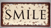 1 pc Smile quotes saying happy Life plaques Tin Plates Signs Brussel wall man cave Decoration Metal Art Vintage Poster