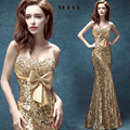 Gold Crystal Mermaid long Evening dresses 2016 Sequined Bow bride fomal Sweetheart Wedding party dress vestidos de soiree gowns