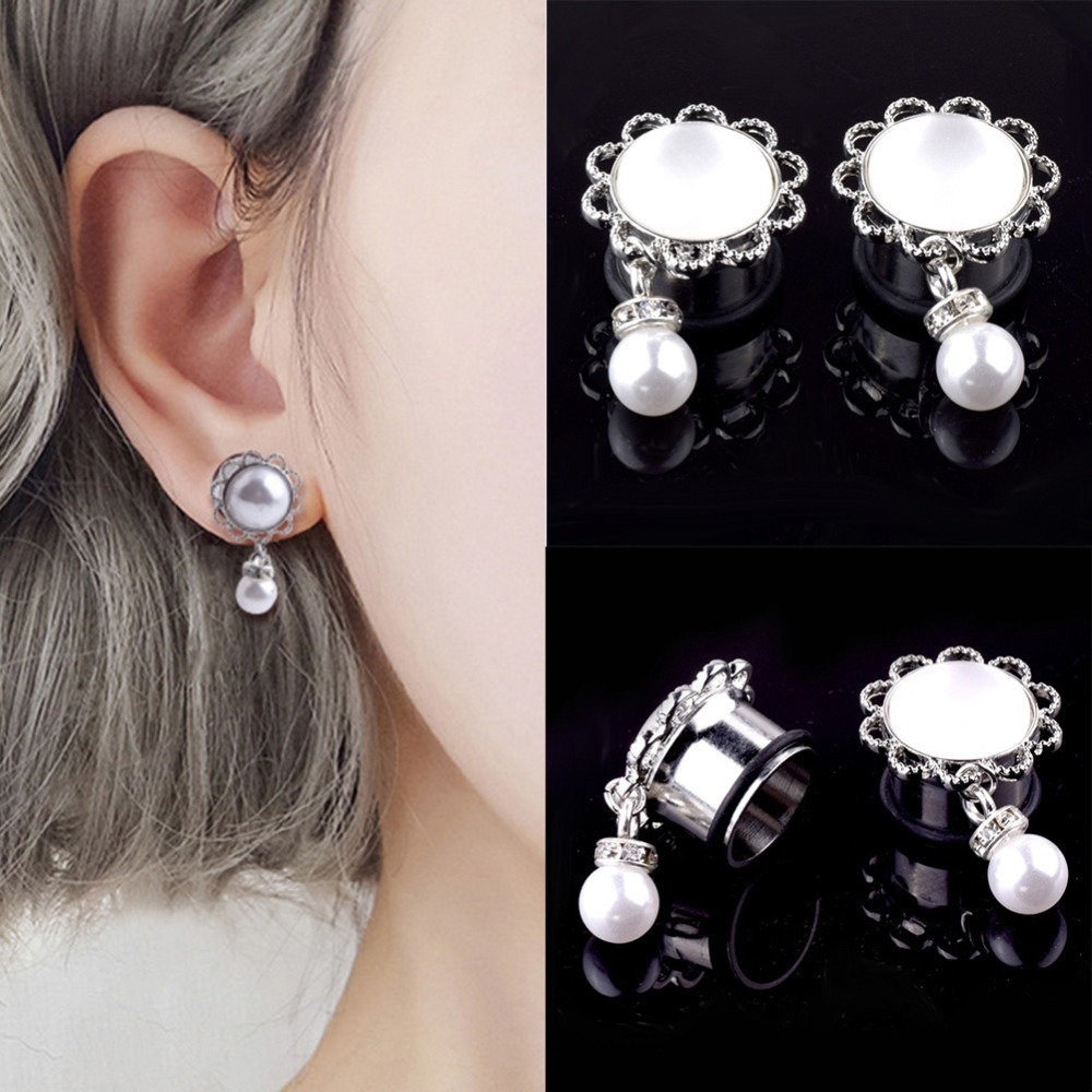 Jewelry Ear-Plugs Flesh-Tunnels Stainless-Steel Body-Piercing Vintage 6-24mm 1-Pair Simulated-Pearl-Pendant