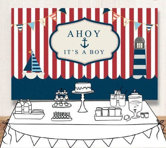 US $14 25 5% OFF|Nautical White red striped boat boy baby shower Vinyl  cloth High quality Computer print birthday Backgrounds-in Background from