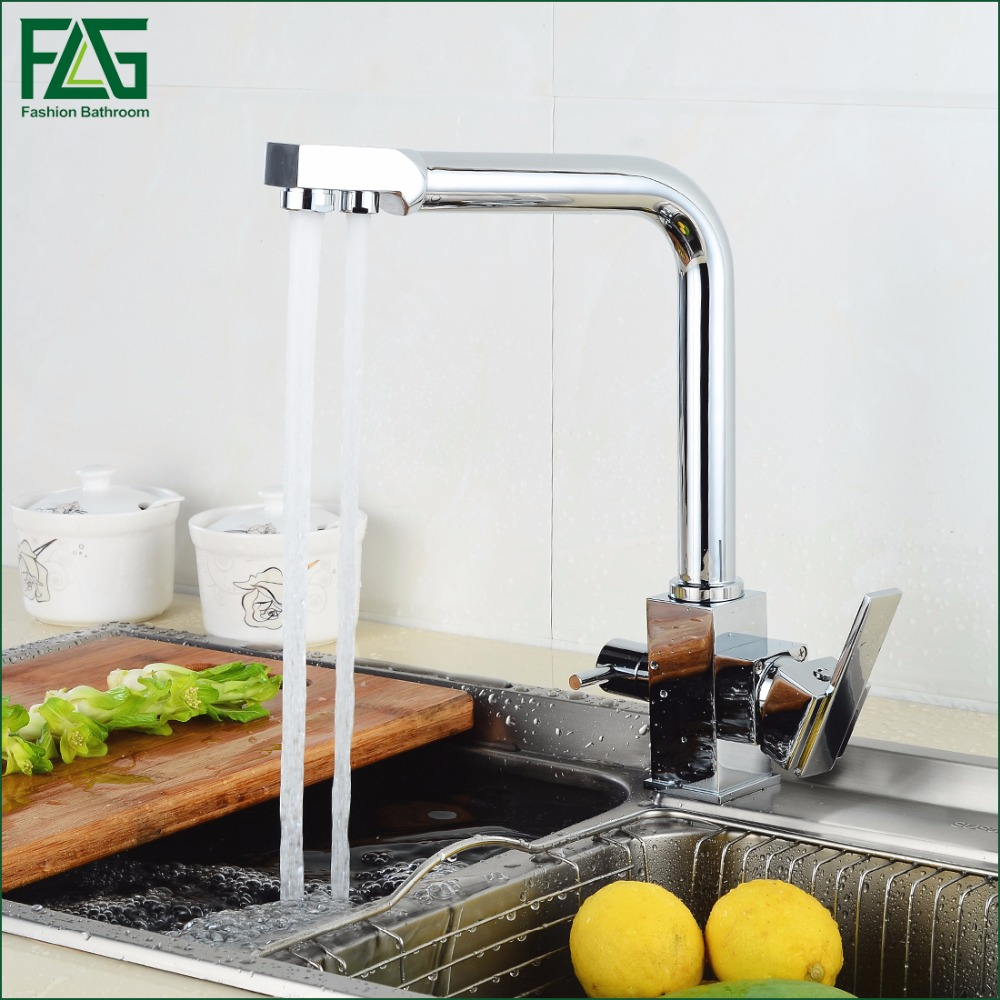 FLG Square Filter Faucets Kitchen 3 Way Water Tap Dual Lever Kitchen Taps Chrome Musluk Deck