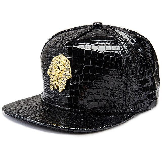 Punk style Golden PU Leather Pharaoh Avatar logo Baseball caps men women gorras  snapback hat Last kings hip hop hats c7aff3d6d3e