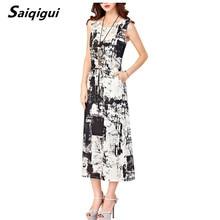 Saiqigui  Summer dresses women Sleeveless Casual A-Line Adjust Waist Vintage Dress Female Cotton Linen Dresses vestidos