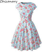 Chicanary Womens Floral Printed 1950s Rockabilly Swing Vintage Dresses Cotton Cap Sleeve Midi Dress Plus Size