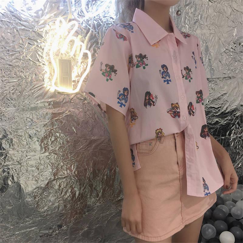 Harajuku De Dibujos down Pink Blouse Korobov Manga Mujer Dama Luna Collar Tops Corta Blusa 35084 Japonés Turn 2019 Marinero Camisa Verano Animados qw8ItA