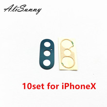 AliSunny 10set  Back Camera Glass for iPhone X XS XSM XR Rear Cam Lens Cover Ring 3M Sticker Adhesive  Replacement Parts
