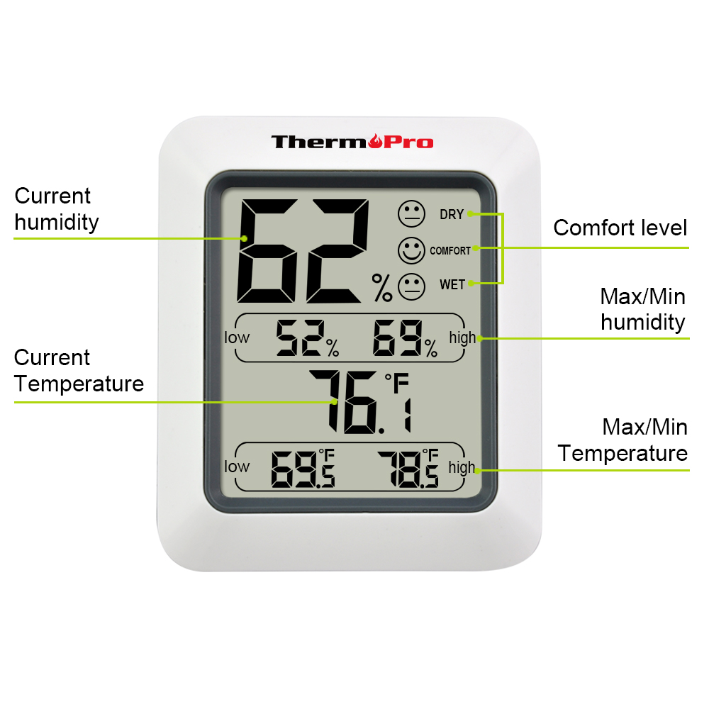 Original Thermopro Tp 50 Digital Hygrometer Indoor Thermometer Humidity Monitor With Temperature Gauge In Gauges From Home Garden On