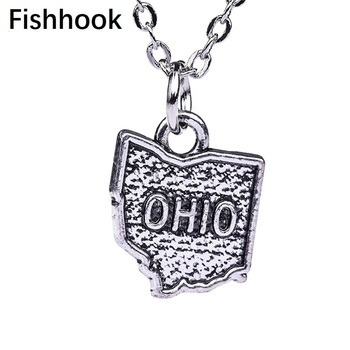 Fishhook Hometown USA State Map OHIO Necklace Zinc Alloy Antique Color Plated Charm Gift For Man Jewelry image