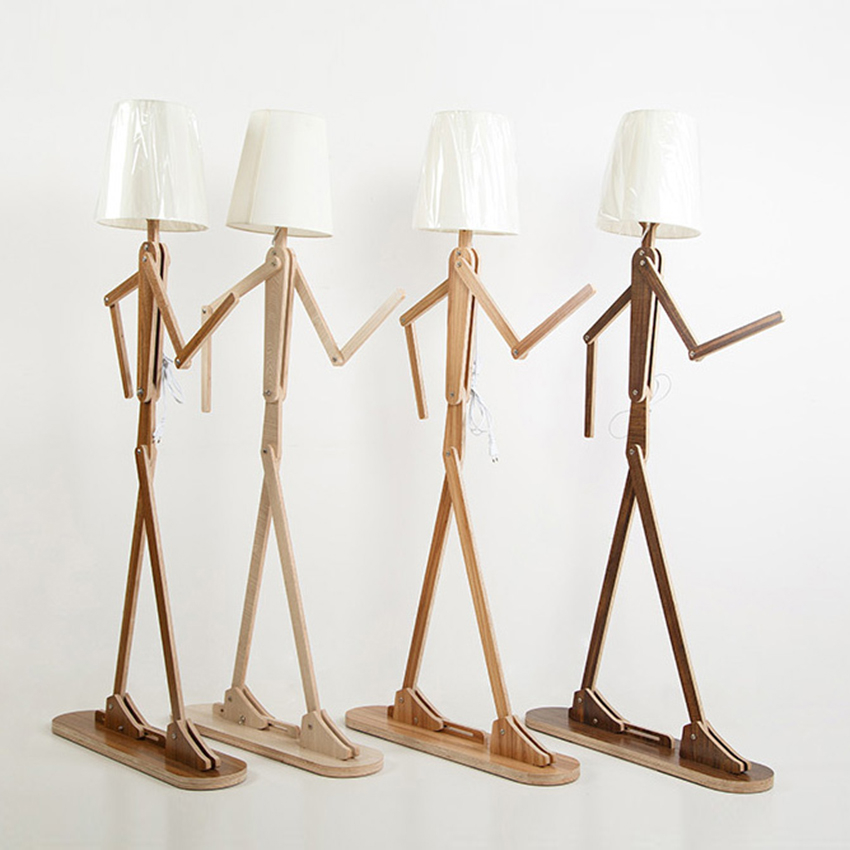 Nordic Kitchen Wooden Floor Lamps E27 Log Fabric Stand