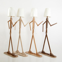 Nordic Kitchen Wooden Floor Lamps E27 Log Fabric Stand Floor Light Living Room Bedside Piano Reading Modern Decorative Lighting