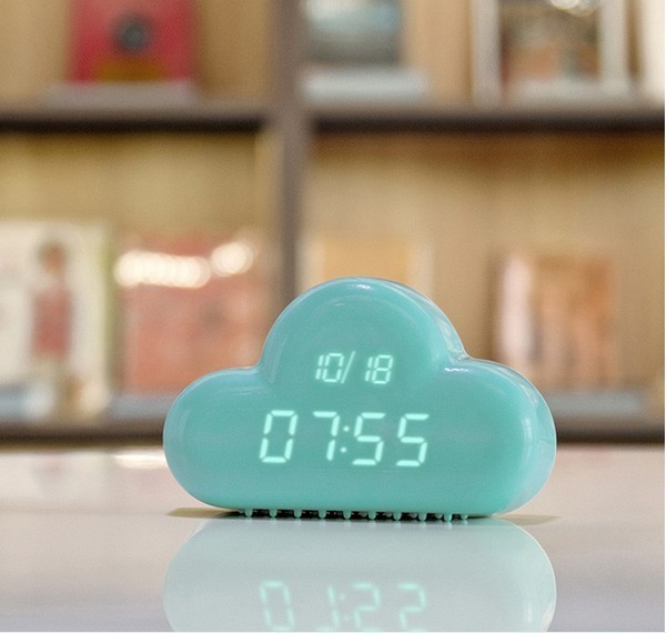 Creative Cloud Led Display Digital Alarme de Som Controle AAA Alimentado/Adaptador AC Desktop Wall Dia Tempo de Exibição Interior