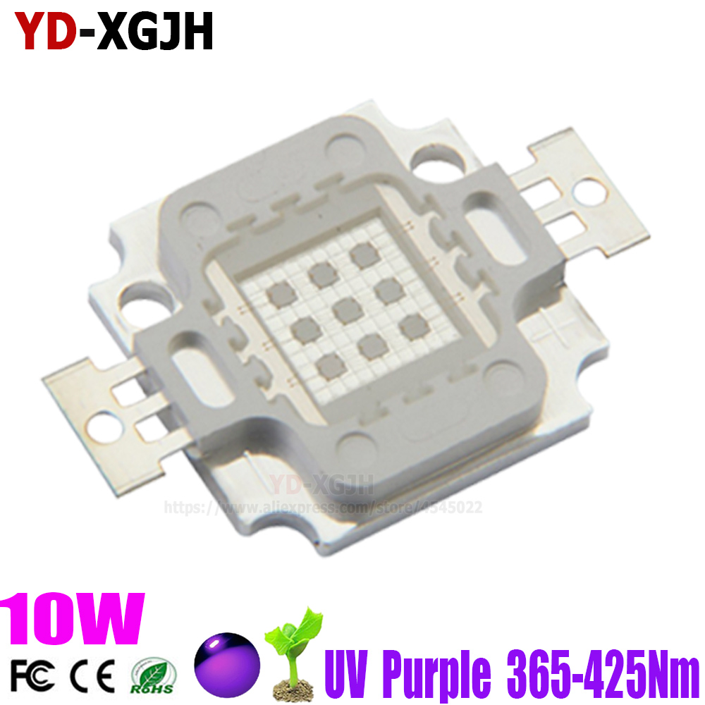 1PCS 10W High Power <font><b>LED</b></font> <font><b>UV</b></font> Light Chip <font><b>diode</b></font> 425nm405nm395nm385nm365nm Purple Ultra Violet for <font><b>Nail</b></font> Dryer Currency Identification image