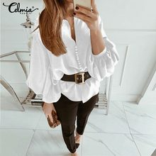 Celmia 2019 Spring Autumn Women Tops Shirts Casual Solid Long Lantern Sleeve Sexy V-Neck Loose Blouses Plus Size Buttons Blusas
