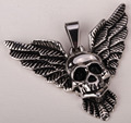 Stainless steel wing skull men necklace pendant W/ chain biker jewelry gifts wholesale dropshipping GN18 silver tone