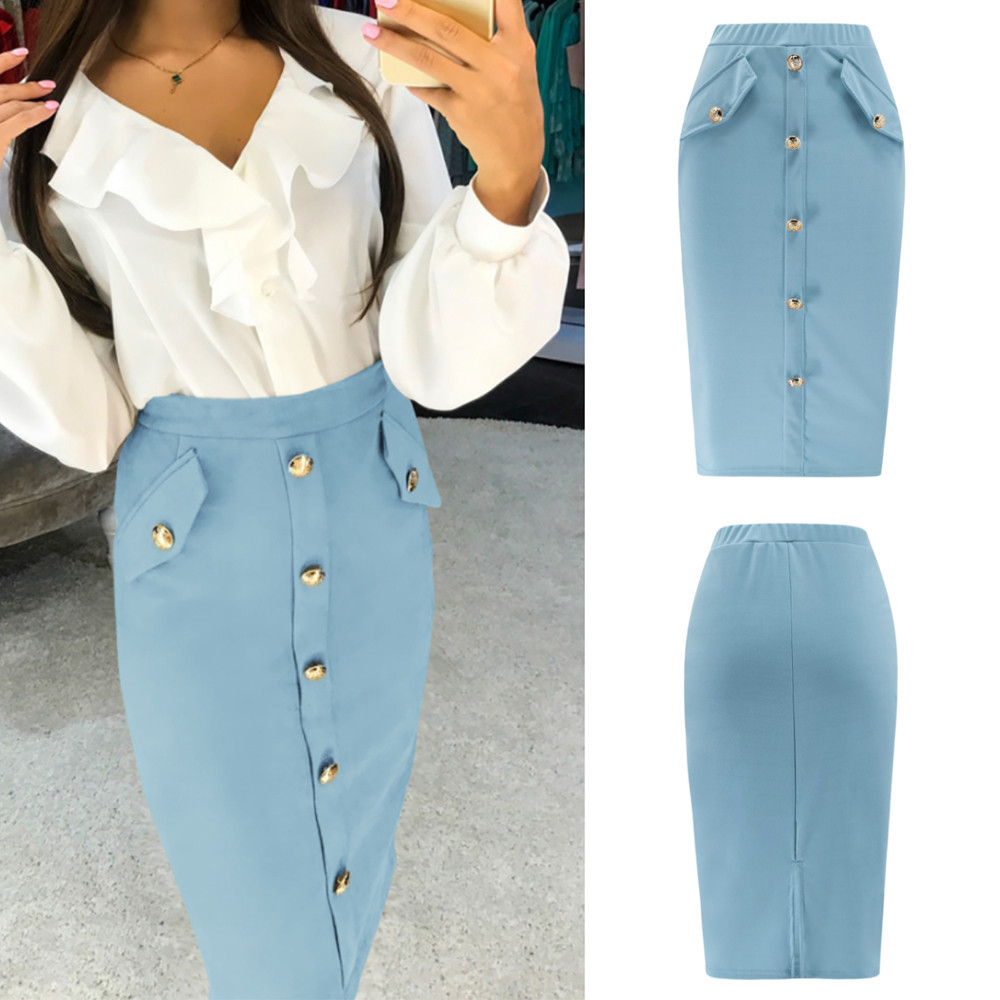 Solid Button Front Pocket Slim Long Skirt Women Summer Elegant Office Lady Bodycon Workwear Skirts High Waist Pencil Skirt 8