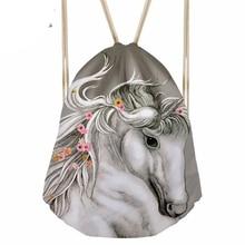 Women Men Horse Printing Drawstring Bag Females Fashion Sport Pouch for Girls Casual Bundle Pocket Mochila Deporte