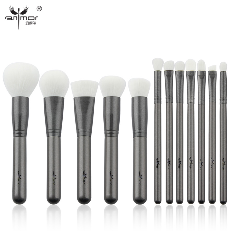Anmor Professional Makeup Brushes 12 pcs Synthetic Makeup Up Brushes Soft Powder foundation Eyeshadow Eyeliner Eyebrow Kit anmor make up brushes professional powder duo fibre eyeshadow makeup tool synthetic makeup brushes set with black bag