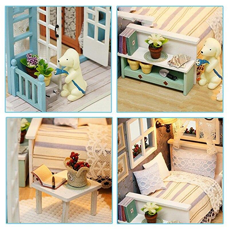CUTEBEE muñeca casa miniatura DIY casa de muñecas con muebles de - Mainan bangunan dan konstruksi - Foto 4