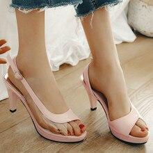 Womens Peep Toe Clear Sandals Spike Heel Slingback Shoes Summer Women Size 33 White Black Pink Blue Green