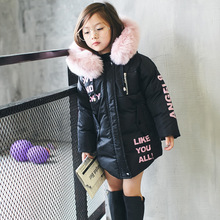 In the winter of 2016 new children girls letter printing hand plug cotton padded jacket padded