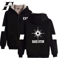 EXO Kpop Logo Winter Warm Cotton Zipper Hoodies Women Korea Style Hoodies Men/Women Thick Coat Fans Sweatshirt