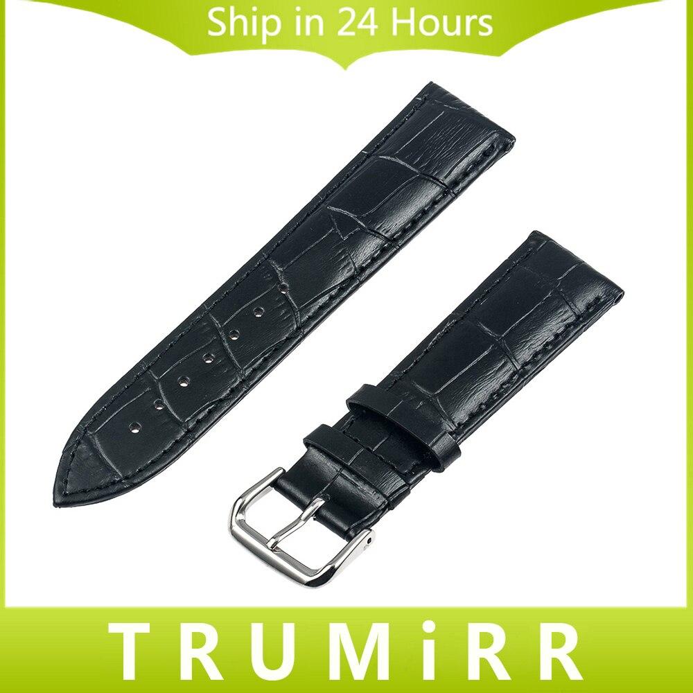 Genuine Leather Watch Band for Cartier Tank Santos Solo Calibre Croco Grain Strap Wrist Bracelet 14mm 16mm 18mm 20mm 22mm 24mm