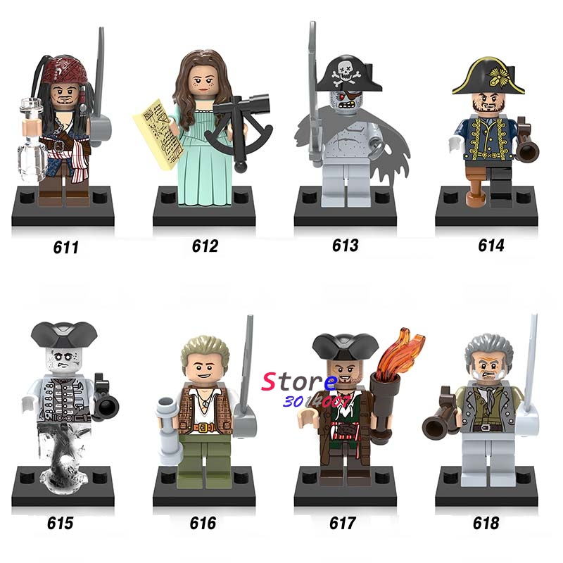 Single Movie Coco Figure Pirates of the Caribbean Jack Sparrow Captain Hector Barbossa building block toys for children pirates of the caribbean jack sparrow 3d print mens shoulder backpack skull heads student children school bags for boys book bag