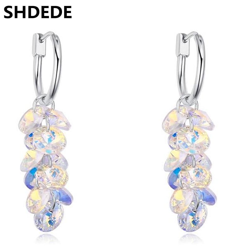 2c396085e SHDEDE Crystal from Swarovski Long Drop Earrings For Women Vintage Fashion  Jewelry Rhinestone Dangle Accessories -