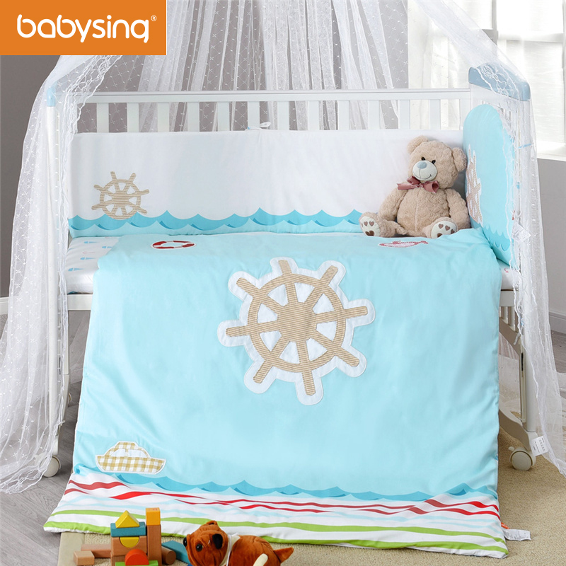 Babysing Nursery Care Cotton Baby Bedding Set Cartoon Embroidery Quilt Fitted Sheets Bumper Pad Pillowcase with