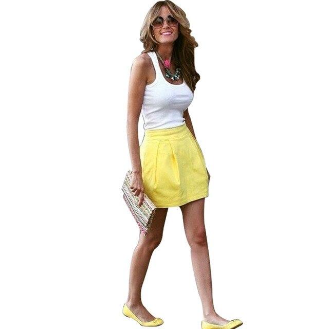 Женщины Из Двух Частей Наряды Лето Белый Топы и Желтый Мини-Юбки женская Пляжная Одежда Наборы 2016