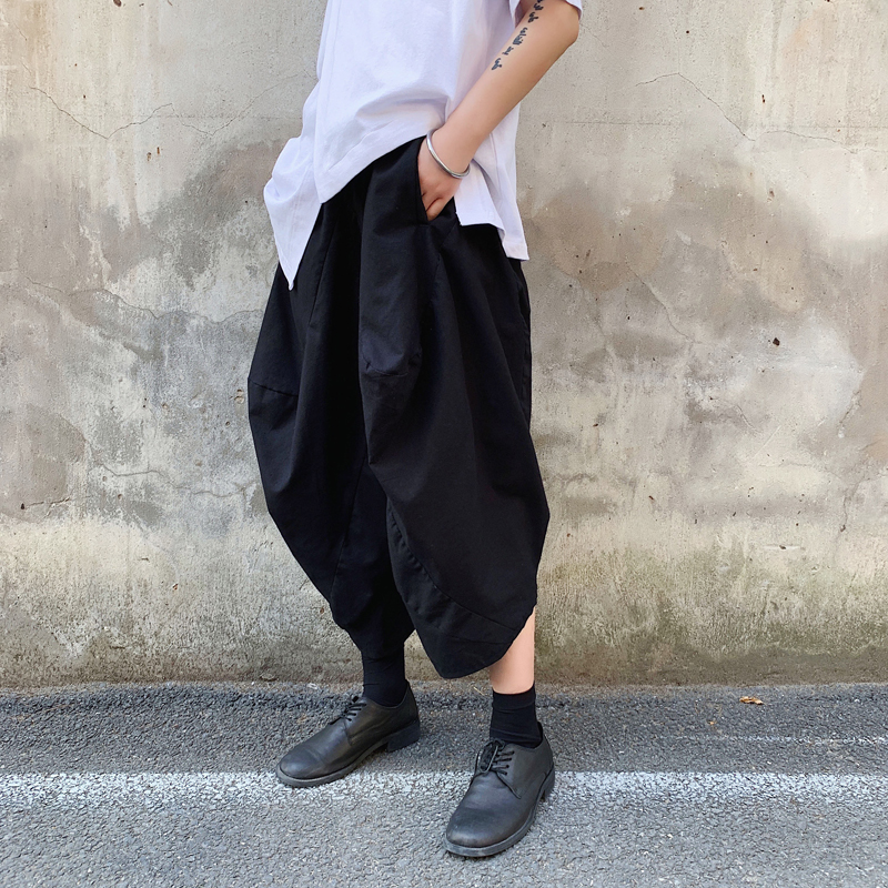 Men Streetwear Hip Hop Punk Gothic Japan Style Cotton Linen Harem Pants Male Loose Casual Wide Leg Pants Black Kimono Trousers(China)