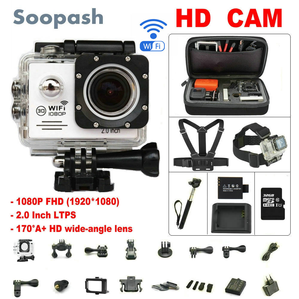 Soopash Action camera deportiva Ultra HD WiFi 1080P 2.0 LCD 170D go waterproof pro camera mini sport action cam action camera deportiva eken v8s ultra hd 4k ambarella a12 wifi electronic image stabilization go waterproof pro sport dv camera