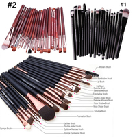 20pcs Professional Black Coffee Dark Red Fine Pincel Maquiagem Brushes For Makeup Cosmetic Make Up Brushes