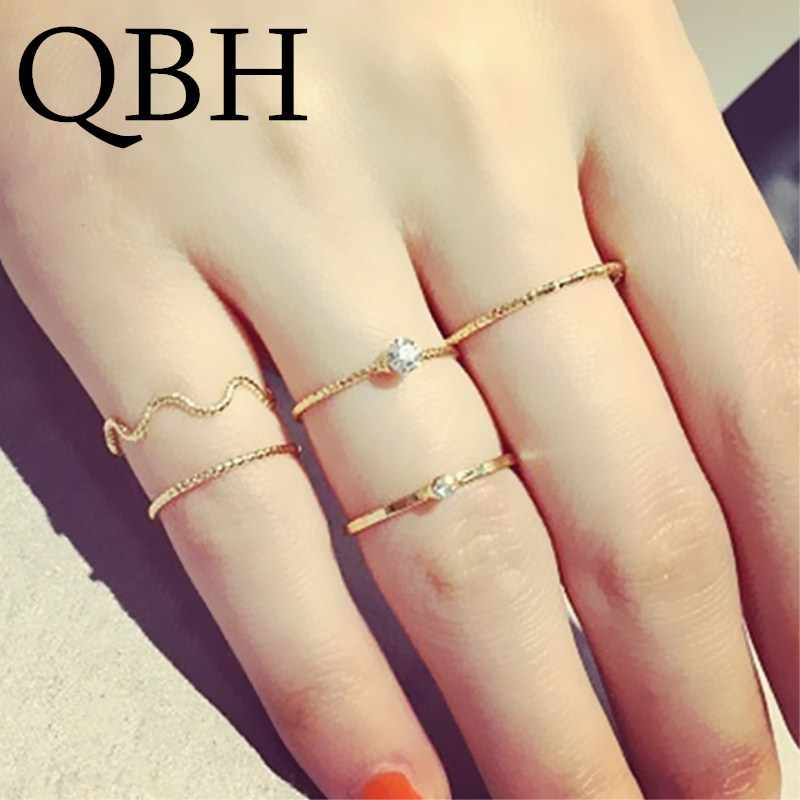 G036  5pc/set New Fashion Minimalist Wave Crystal Finger Ring Set for Women Knuckle Party Tiny Rings Jewelry Gift Girl Anillo