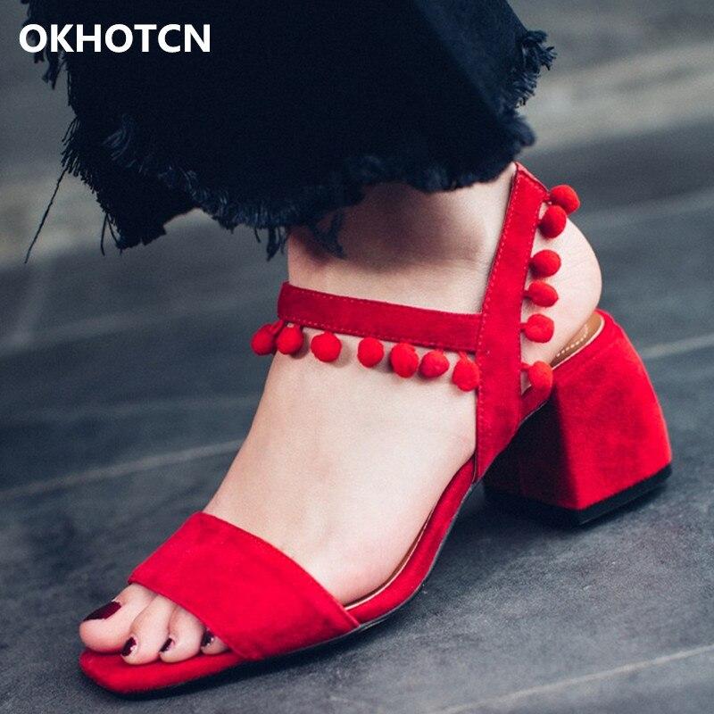 Rouge Peep Chunky Chaussures Lady Talon Balle Femme Show As as Une Noir D'été Fille Troupeau Sandales Toe Gladiateurs Pendentif Doux Show Boucle xdBoeC