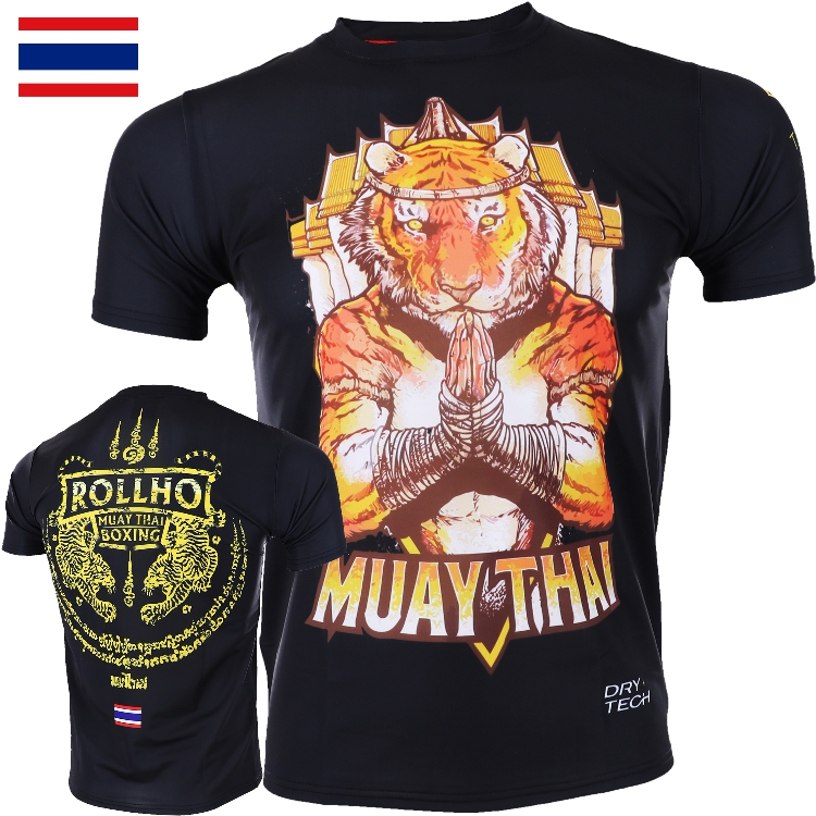 Fight MMA Fitness T-shirt ROLLHO Soft Monkey Thai  Short Sleeves Broadcast For Tiger Short Sleeves Speed Dry Muscle Fight