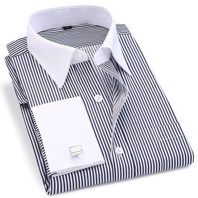 High Quality Striped Men French Cufflinks Casual Dress Shirts Long Sleeved White Collar Design Style Wedding Tuxedo Shirt 6XL 4