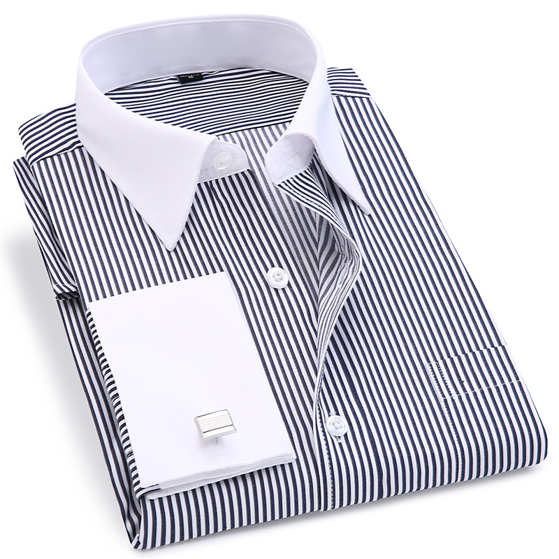 Image 4 - High Quality Striped Men French Cufflinks Casual Dress Shirts Long Sleeved White Collar Design Style Wedding Tuxedo Shirt 6XL-in Dress Shirts from Men's Clothing
