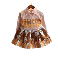 Children Clothing 2016 New Fashion Autumn Baby Girl Clothes Sets Top Turn Down Collar Cartoon Long