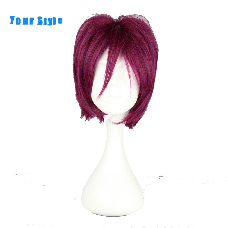 Your Style Short Pixie Cut Cosplay Wigs Synthetic High Temperature Fiber Red Wine Color High Temperature Fiber