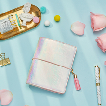 Lovedoki 2019 Laser kolor fantazyjny notatnik A7 Ring Binder Planner z dużym portfelem osobisty kieszonkowy pamiętnik Book Gift Stationery