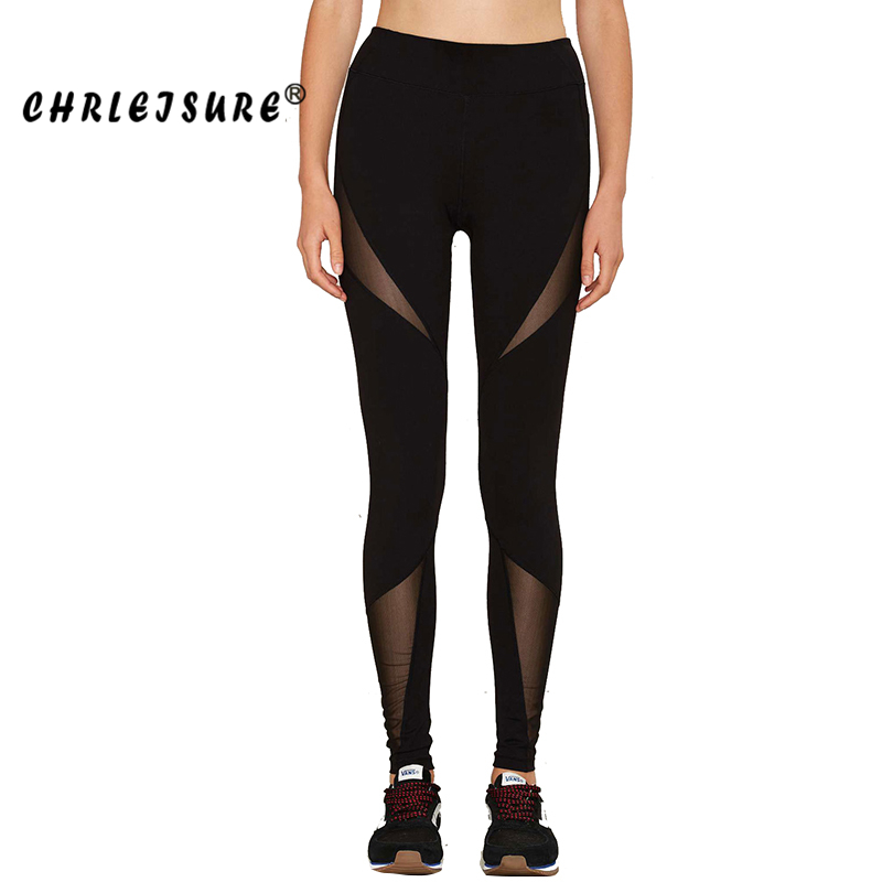 CHRLEISURE S-XL Sexy Mesh Patchwork Leggings Big Size Women Fitness Pants Trousers Elasticity Sexy Black Mesh Leggings