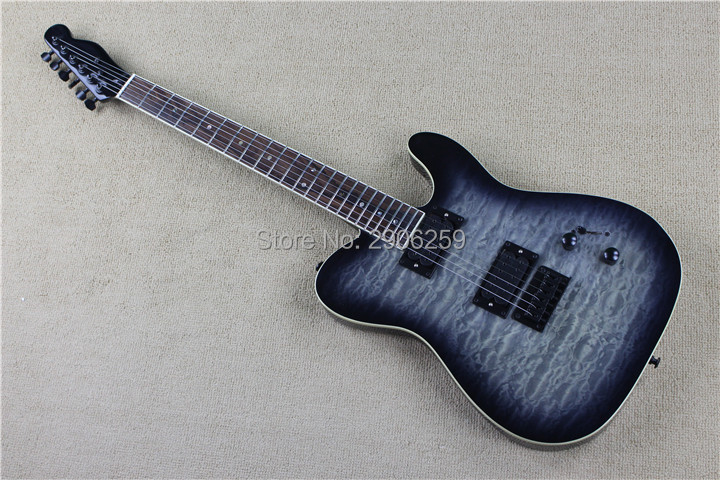 Custom shop high quality quilt maple top tele guitar.glued in one piece tl electric guitar,transparent black color free shipping gisten high quality custom lp electric guitar transparent black burst maple top active pickup electric guitar free shipping
