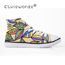 ELVISWORDS New African Adults Family Men's High Top Size 35-45 Breathable Canvas Shoes platform Vulcanize Shoe zapatos de mujer