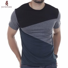 HEYKESON Tshirt Brand 2017 Male Short Sleeve T Shirt O-Neck Men T-Shirt  Simple splicing Tee Tops Shirt Homme T Shirts 3XL DUNV