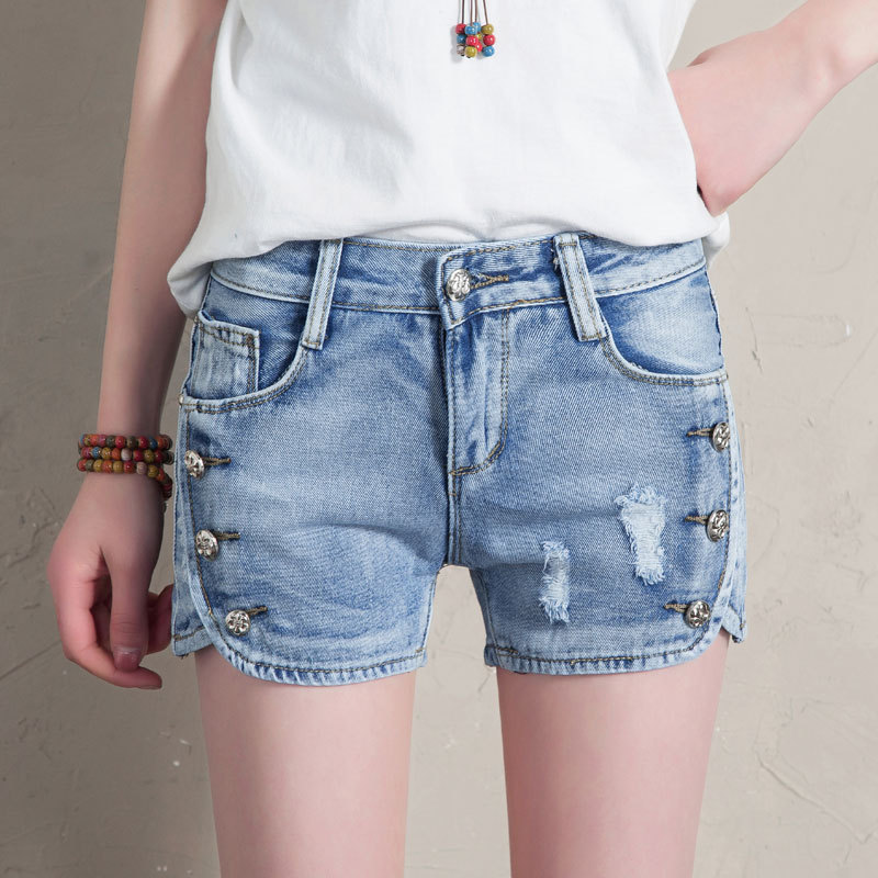 HMCHIME 2017 Summer women slim short jeans vintage ripped hole fashion all match sexy cowboy denim shorts side with button HM044