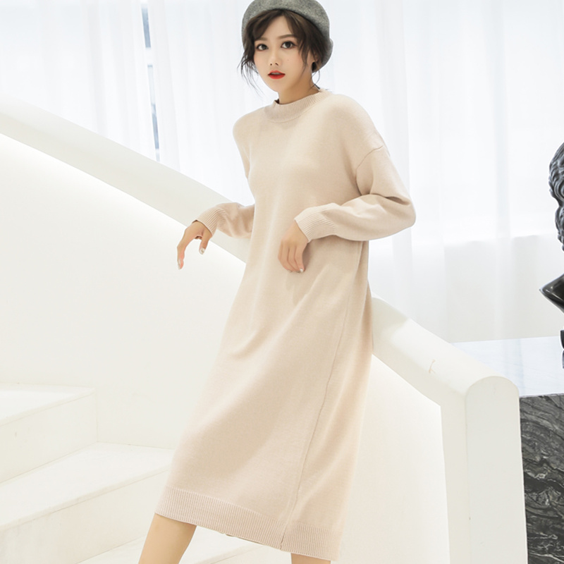 US $24.7 5% OFF|Winter Dress Women 2018 Vintage Korean Fashion High Waist O  Neck Plus Size Sweater Dress Long Sleeve Knitted Dress Long Thick-in ...